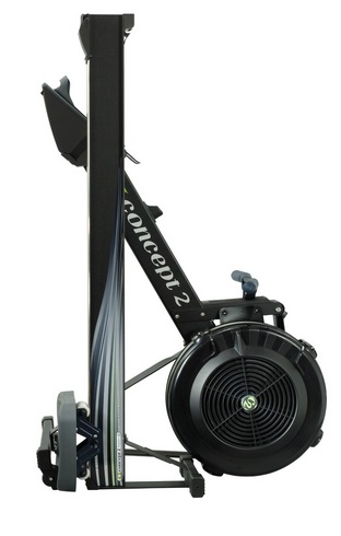 The Concept2 Model D folded and stored vertically