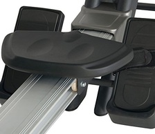 Seat and foot rests on a rowing machine