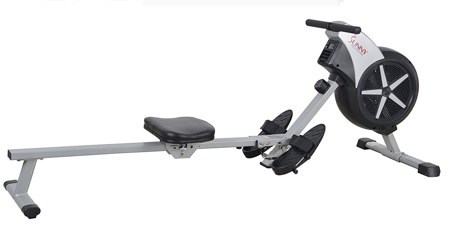 Side view of the Sunny Health & Fitness SF-RW5633 air rowing machine