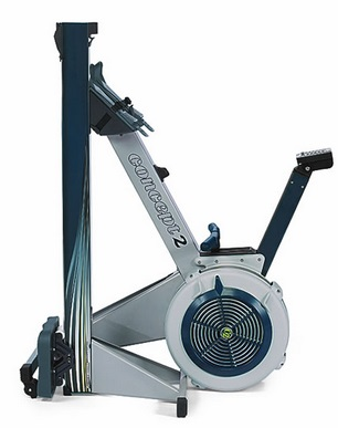 The Concept2 Model E folded and stored vertically