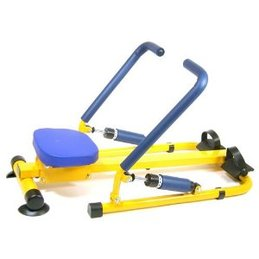 kids rowing machine in yellow and blue