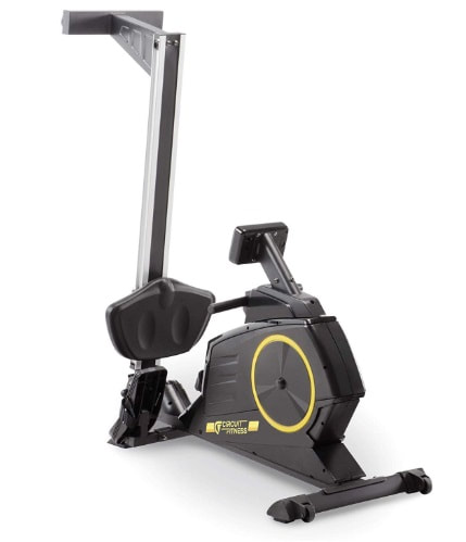 Circuit Fitness Deluxe Magnetic rower in folded position