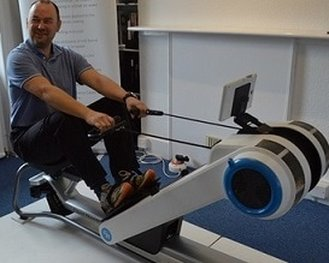 Roy Palmer on the Float Rower rowing machine