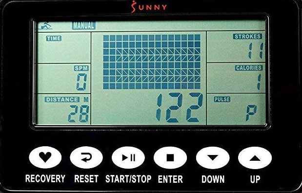 Display on the SSunny SF-RW5713 Obsidian Surge 500 Water rowing machine