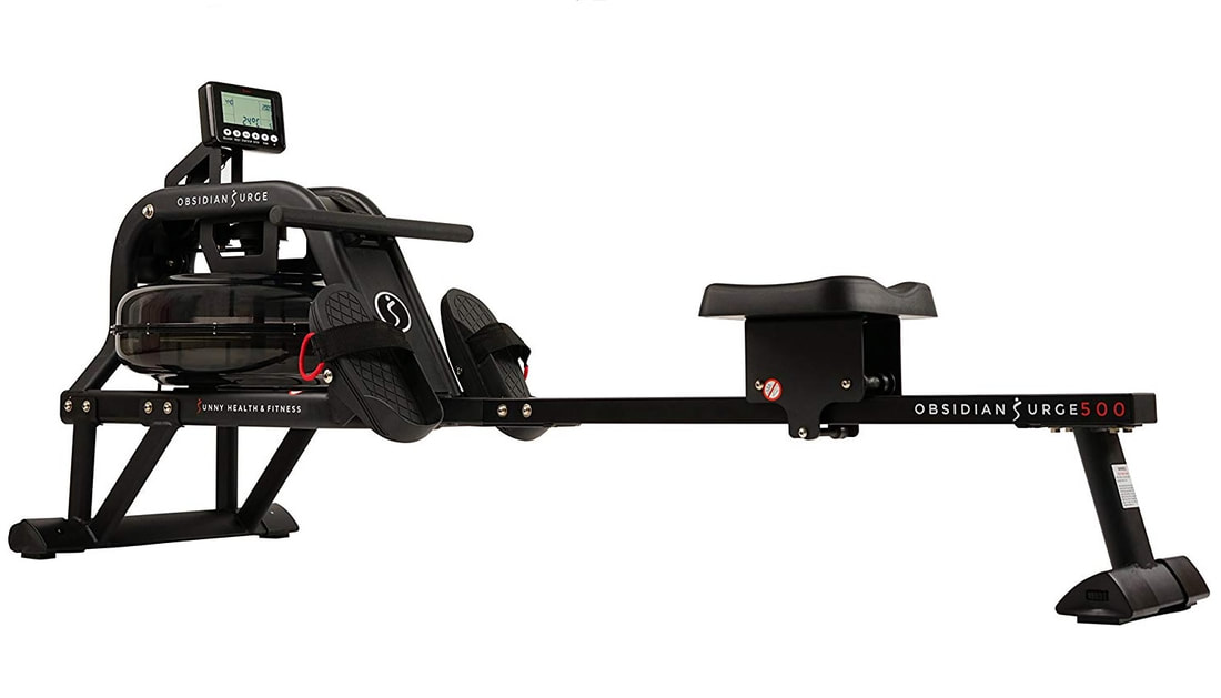 Side view of the Sunny SF-RW5713 Obsidian Surge 500 Water rowing machine