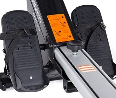 Foot rests on Velocity Fitness rowing machine